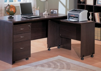 Writing Desk with Printer Cart Return in Cappuccino - Coaster