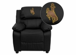 Wyoming Cowboys & Cowgirls Black Leather Kids Recliner - BT-7985-KID-BK-LEA-40020-EMB-GG