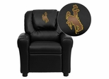Wyoming Cowboys & Cowgirls Black Vinyl Kids Recliner - DG-ULT-KID-BK-40020-EMB-GG