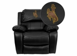 Wyoming Cowboys & Cowgirls Embroidered Black Leather Rocker Recliner - MEN-DA3439-91-BK-40020-EMB-GG