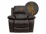 Wyoming Cowboys & Cowgirls Embroidered Brown Leather Rocker Recliner - MEN-DA3439-91-BRN-40020-EMB-GG