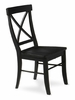 X-Back Chair with Solid Wood Seat (Set of 2) in Black - C46-613P