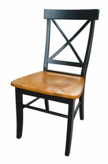 X-Back Chair with Solid Wood Seat (Set of 2) in Black / Cherry - C57-613P