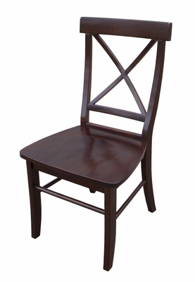 X-Back Chair with Solid Wood Seat (Set of 2) in Java - C15-613P