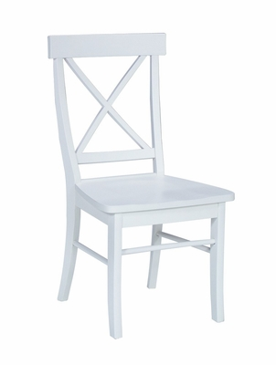 X-Back Chair with Solid Wood Seat (Set of 2) in Linen White - C31-613P