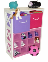 X-Frame Kids Storage with 2 Pastel Bins and 12-Slot Cubby - RiverRidge - 02-039