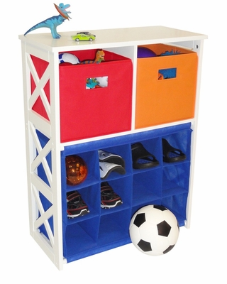 X-Frame Kids Storage with 2 Primary Colored Bins and 12-Slot Cubby - RiverRidge - 02-038
