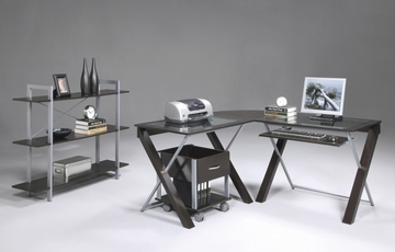 X-Text Home Office Furniture Set in Espresso with Silver Accents - Office Star - OSET-4