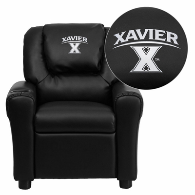 Xavier University Crusaders Black Vinyl Kids Recliner - DG-ULT-KID-BK-45033-EMB-GG
