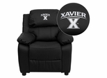 Xavier University Crusaders Leather Kids Recliner - BT-7985-KID-BK-LEA-45033-EMB-GG