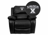 Xavier University Crusaders Leather Rocker Recliner - MEN-DA3439-91-BK-45033-EMB-GG