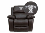 Xavier University Crusaders Leather Rocker Recliner - MEN-DA3439-91-BRN-45033-EMB-GG