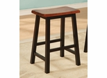 "Yates 24"" Oak and Black Wooden Bar Stool - Set of 2 - 180129N"
