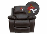 York College Cardinals Embroidered Brown Leather Rocker Recliner  - MEN-DA3439-91-BRN-41114-EMB-GG