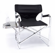 Flat Frame Aluminum Table Height Directors Chair with Table