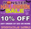 MONSTER Halloween 10% Off Sale