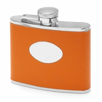 4 Ounce Orange Leather Engraved Flask - Free Engraving