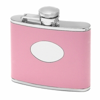 4 Ounce Pink Leather Monogram  Flask - Free Engraving
