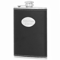 8 Ounce Black Leather Liquor Flask - Free Engraving