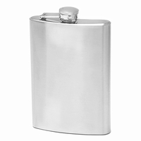 8 Ounce Satin Finish Stainless Steel Flask - Free Engraving