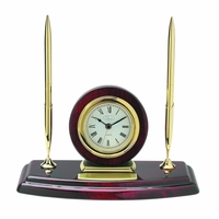 Ambassador Double Pen Stand with Clock