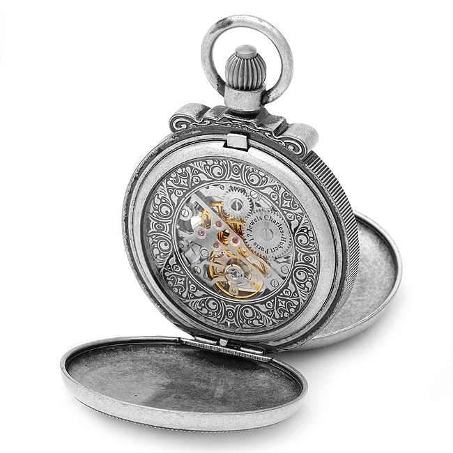 antique silver mechanical vintage pocket chain by