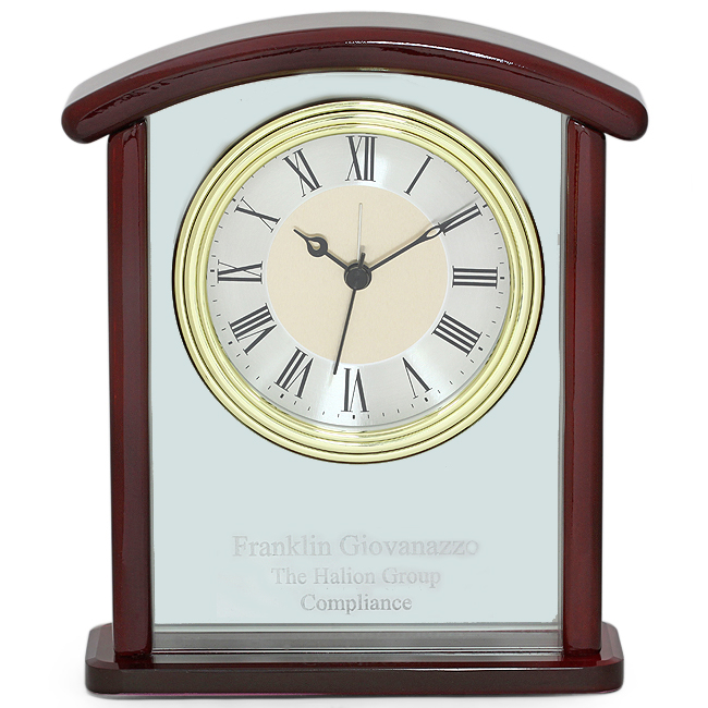 Arched Piano Finish Personalized Desk Clock Discontinued