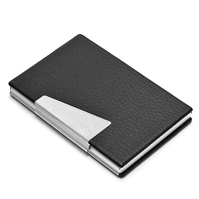 Black Faux Leather Business Card Holder Free Engraving