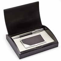 Carbon Fiber Pen and Card Case Gift Set - Free Personalization