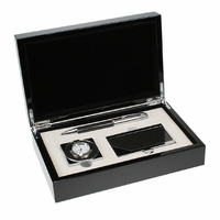 Carbon Fiber Pen, Card Case and Clock Gift Set - Free Personalization