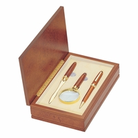 Deluxe Rosewood Pen, Letter Opener and Magnifier Gift Set