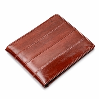 Eel Skin Bifold Credit Card Wallet with Money Clip - Free Personalization