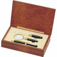 Executive Brass Pen, Letter Opener and Magnifier Gift Set - Free Personalization