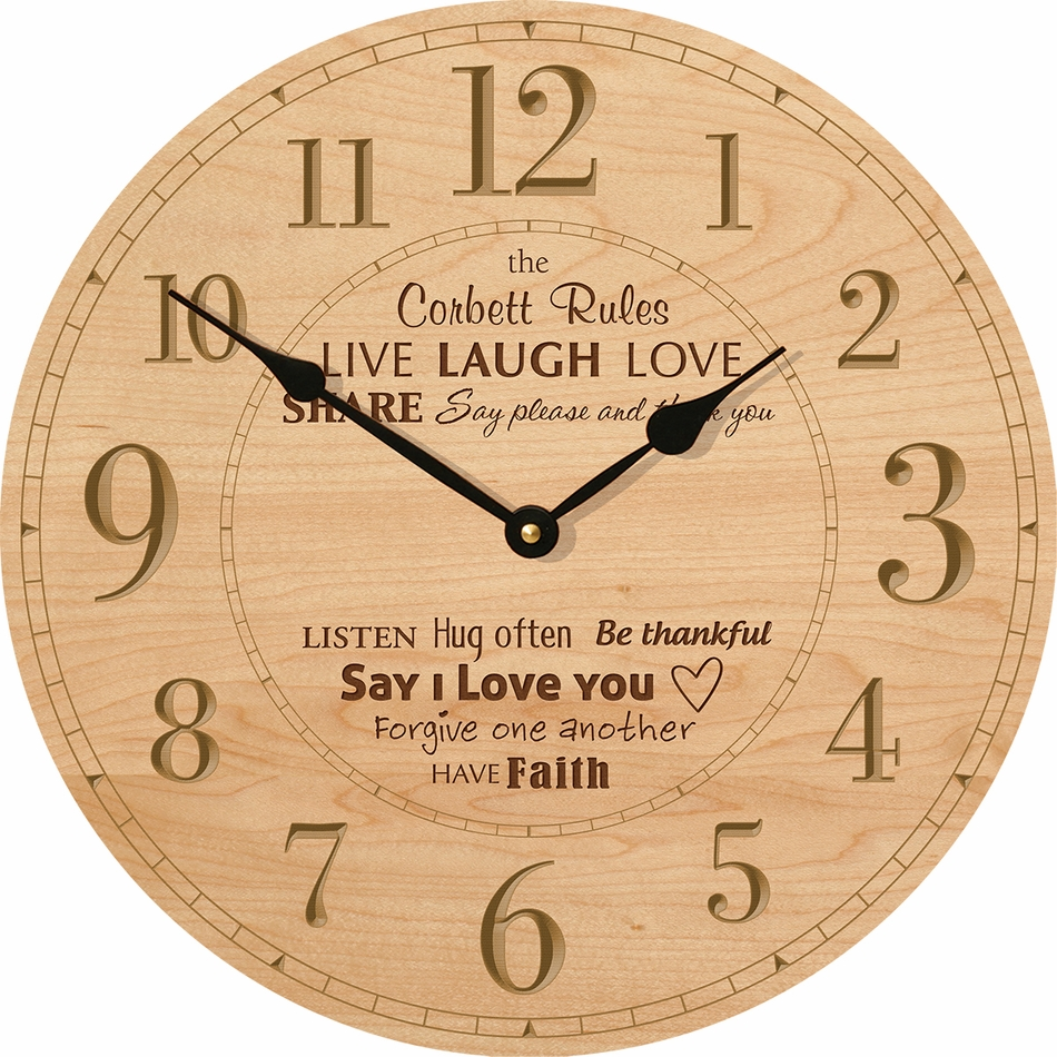 Family Rules Personalized Wall Clock