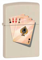 Four Aces Cream Matte Zippo Lighter - Free Engraving - ID# 24795 - Discontinued