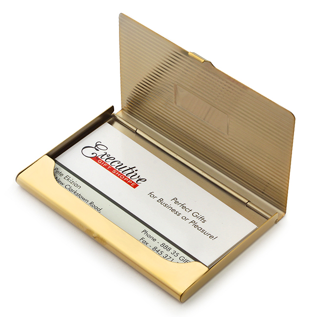 Polished Brass Business Card Holder with Rectangular