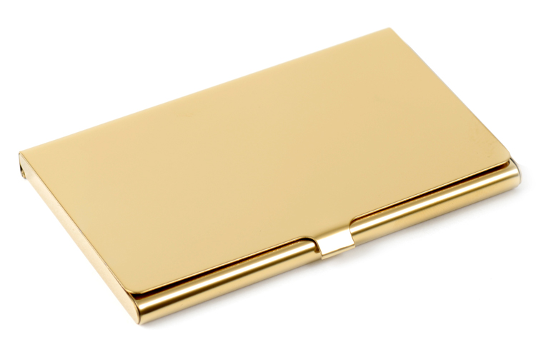 Engraved Polished Brass Business Card Case Free