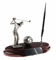 It's Tee Time! Golfer's Desktop Pen Stand & Clock