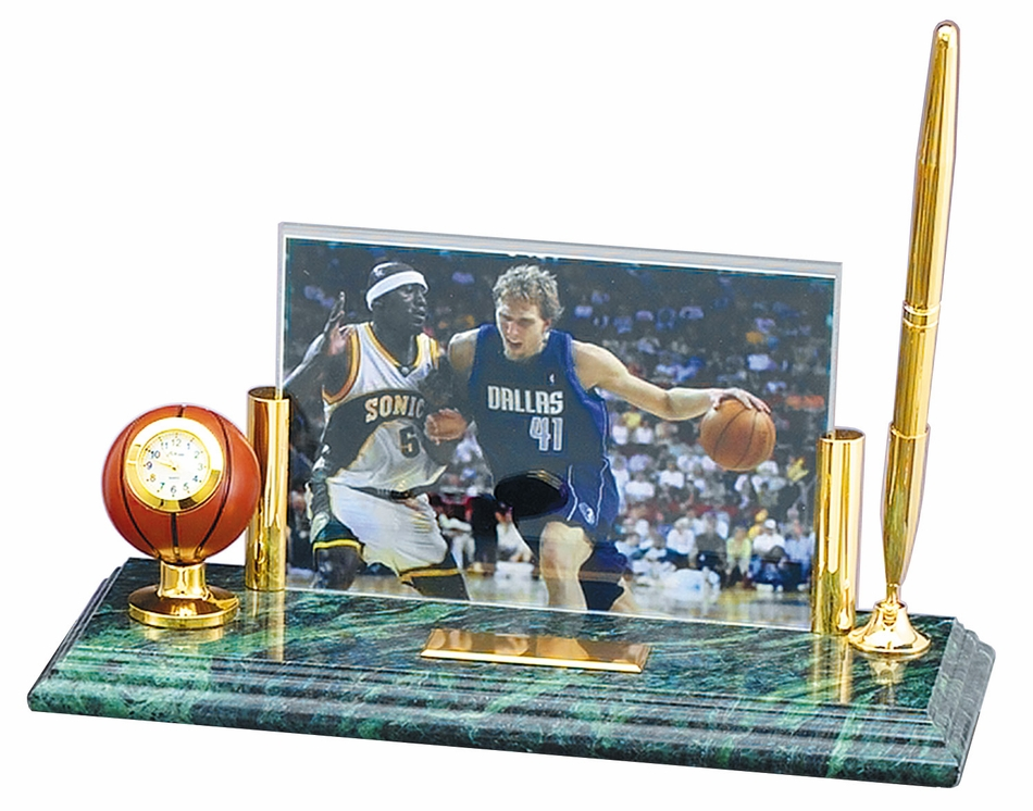 Personalized Basketball Photo Frame Desk Set Pens