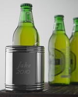 Personalized Polished Silver Tone Can Cooler