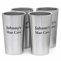 Personalized Stainless Steel Beer Mug Set of 4