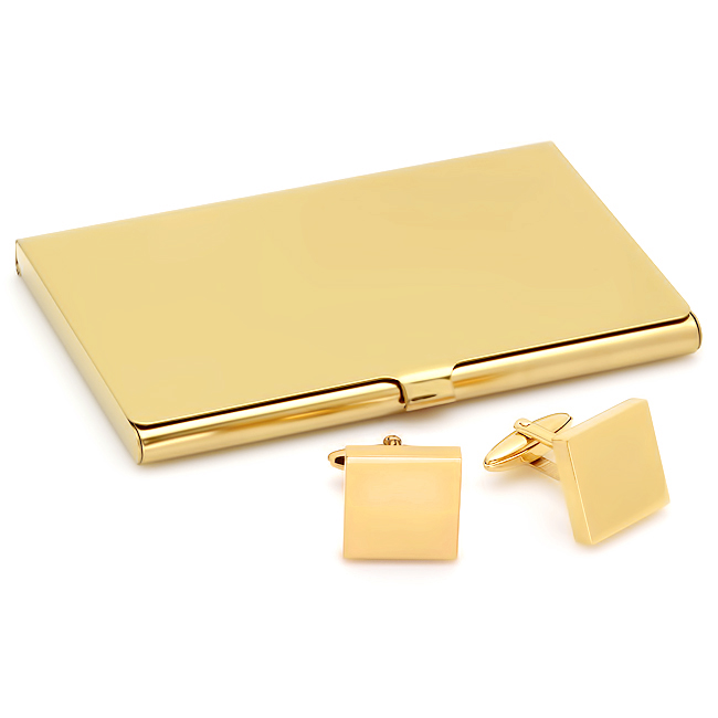 Polished Gold Collection Business Card Holder & Cufflinks