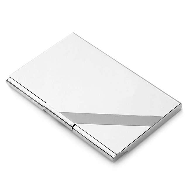 Silver Tone Business Card Holder with Diagonal Line Free