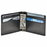 Slim Bifold Leather Wallet with Money Clip - Free Personalization