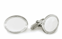 Sterling Silver Border Collection Oval Engravable Cufflinks