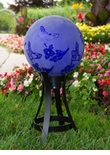 "10"" Etched Hummingbird Globe w/Stand Combo"