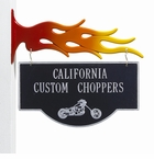 2-Sided Hanging Garage Motorcycle Plaque