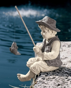 Damaged Fishing Boy Statue