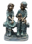 "Damaged Girl And Boy on Bench 16""H"