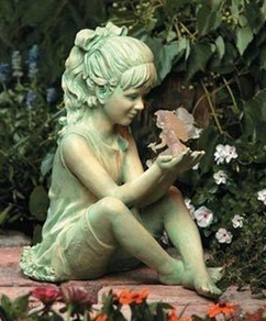 Damaged Girl w/ Fairy Solar Garden Statue